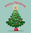 christmas tree with topper fairy card vector image