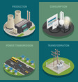 electric power 4 isometric icons vector image