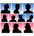 Man and Woman Avatar Silhouettes vector image