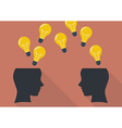 Two human head thinking a new idea vector image