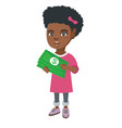 african-american girl holding money in hands vector image