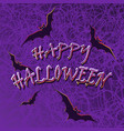 bats on the spidernet violet background vector image
