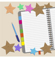 blank paper with paper stars and notes on the desk vector image