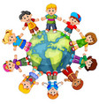 children standing on globe vector image