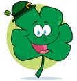 Happy Green Shamrock Wearing A Green Hat vector image