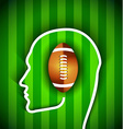 Human head with rugby football American ball vector image
