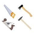 set of carpenter hand plane saw hammer axe vector image