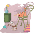 Cute Cat and Little Dog Cartoon vector image vector image