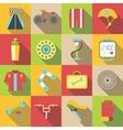 Bike items icons set flat style vector image