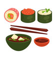 chinese and japanese delicious exotic food vector image