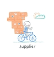 supplier supplier rides a bike with the goods vector image vector image