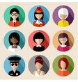 Set of round flat icons with women vector image vector image