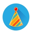 celebratory striped clown cap icon vector image