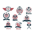 Darts sporting icons and emblems vector image