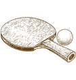 engraving of ping pong table tennis racket and vector image