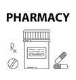 Pharmacy simple style concept Pills box vector image