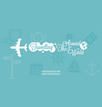 plane and traveling around the world typographic vector image