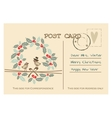 Retro christmas greeting postcard with birds vector image