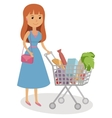 Young woman pushing supermarket shopping cart full vector image