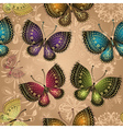 Seamless beige pattern with bright butterflies vector image vector image