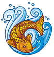 Koi fish in the sea waves vector image vector image