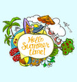 summer speech bubble with hello summer time vector image vector image