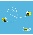 Two flying bees Dash heart in the sky Card vector image vector image