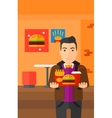 Man with fast food vector image
