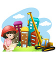 Girl and construction site vector image