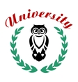 Black owl in wreath as university symbol vector image