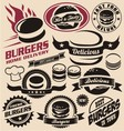 Burger icons labels signs symbols and designs vector image