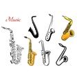 Cartoon saxophone music instruments vector image