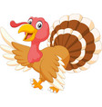 Cartoon turkey waving isolated on white background vector image