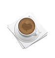 Cup of coffee on the sauser vector image