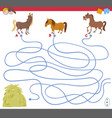 maze game with horse characters vector image