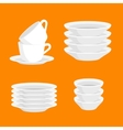 Kitchen household cutlery clean teacups and white vector image