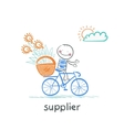 supplier supplier carries a bike basket with goods vector image vector image