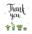 Thank you Handwritten card with flowers in vector image