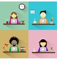 Worker sitting at the table with computer vector image vector image