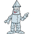 Cartoon tin man pointing vector image
