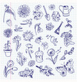 freehand drawing spring items set vector image