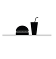hamburger and juice in a glass black and white vector image