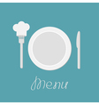 Plate knife and chefs hat on the fork Menu card vector image