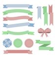 Set flat color ribbons badges bookmarks and bow vector image