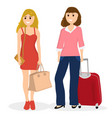 women tourists with bags and suitcase vector image