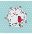 Christmas Card with Bird and Wreath vector image