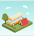 camping motor home isometric vector image vector image