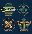 Longboard surfing retro emblem color vector image