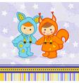 baby boy girl dressed as rabbit squirrel vector image