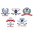 Ice Hockey heraldic emblems and symbols vector image vector image